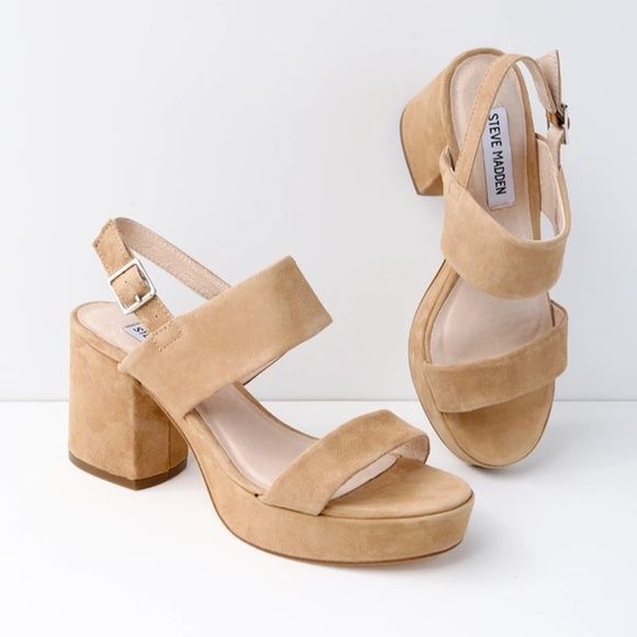 5c76e8f6b46e Reba Tan Suede Leather Platform Sandals. M 5b72fa081b329493137a6118